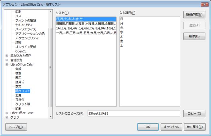 LibreOffice Calcの順序リスト